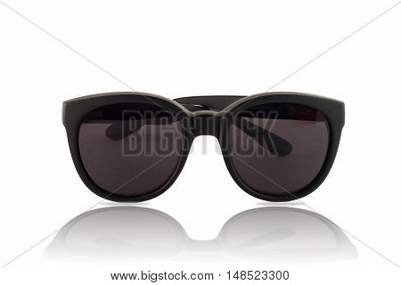 Big sunglasses with dark glasses on white background