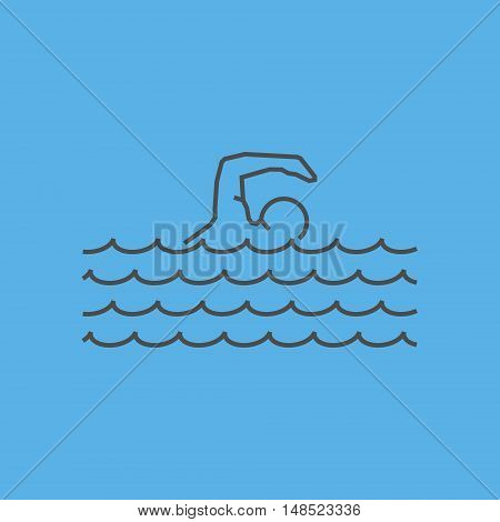 Cool line swim icon. Vector silhouette of swimmer.