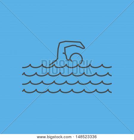 Cool line swim icon. Vector silhouette of swimmer.