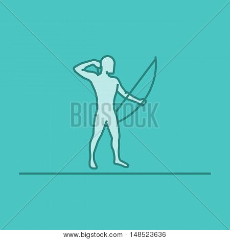 Vector silhouette of archer. Modern outline archery logo.