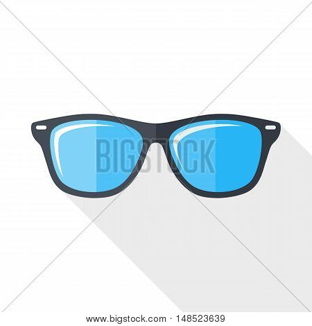 Vector Glasses Icon. Glasses Simple Icon In Flat Style With Long Shadow On White Background