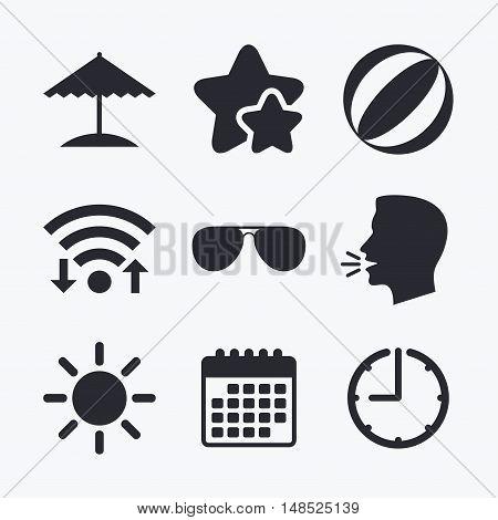 Beach holidays icons. Ball, umbrella and sunglasses signs. Summer sun symbol. Wifi internet, favorite stars, calendar and clock. Talking head. Vector