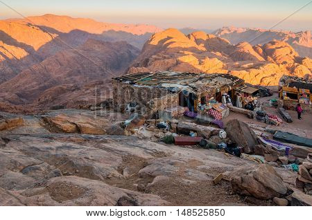Mount Sinai Egypt - November 25 2010: Arab Bedouin Shops on Mount Sinai in early morning at November 25 2010. The mountain associated with Moses and the Ten Commandments is a popular travel destination for religious and secular visitors alike.