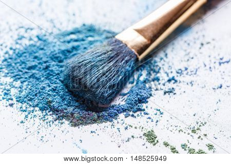 scattered blue eye shadows close-up