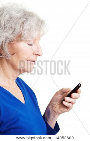 Senior Woman Reading Text Message