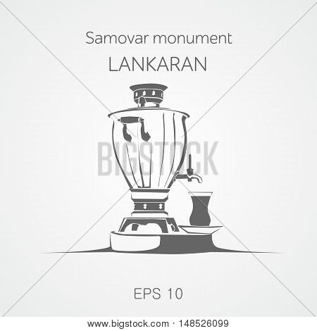 Huge tea samovar vector illustration. Lankaran. Azerbaijan.
