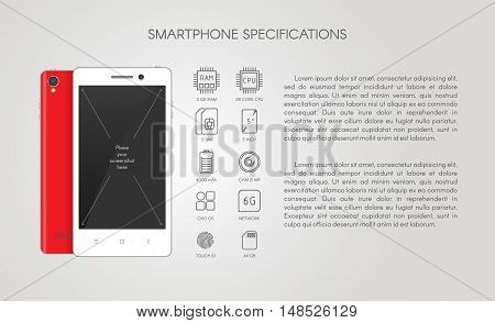 Smartphone/Tablet specification flat line icons. Gadget description.