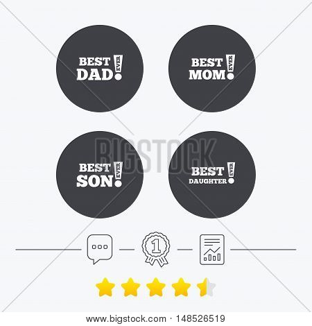 Best mom and dad, son and daughter icons. Awards with exclamation mark symbols. Chat, award medal and report linear icons. Star vote ranking. Vector