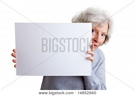 Old Woman Holding White Poster