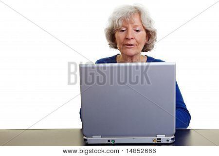 Elderly Woman Working On A Laptop