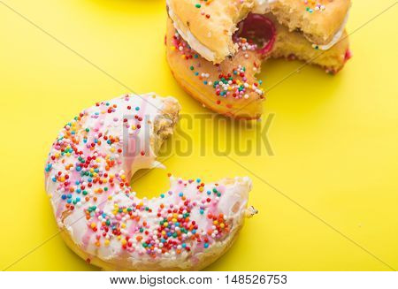 Donuts on color background