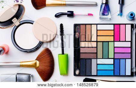 Set of cosmetics closeup on pure background