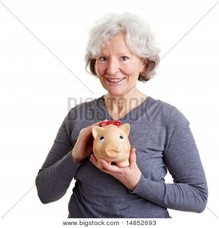 Old Woman Holding Piggy Bank