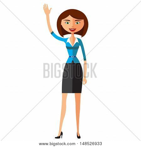 Business woman waving her hand. Secretary Cartoon Character flat  vector illustration. Eps10. Isolated on a white background.