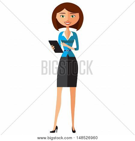 professional businesswoman using tablet device tablet computer touch screen flat cartoon vector illustration. Eps10. Isolated on a white background.