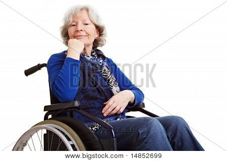 Disabled Senior Woman In Wheelchair