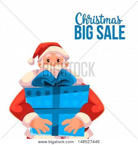 Cartoon style Santa Claus holding a big box, Christmas vector sale banner, white background, text at the top. Half length portrait of Santa holding a large blue box, Christmas sale banner template