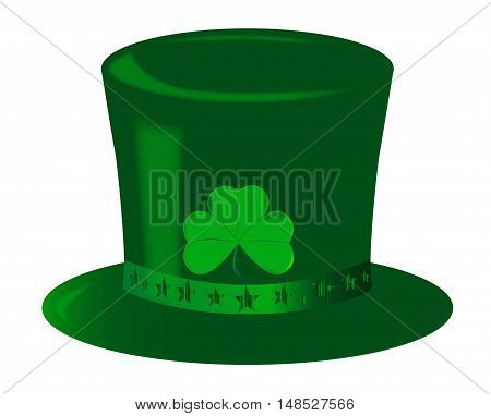 A top hat with a star ribbon all in green and isolated on white