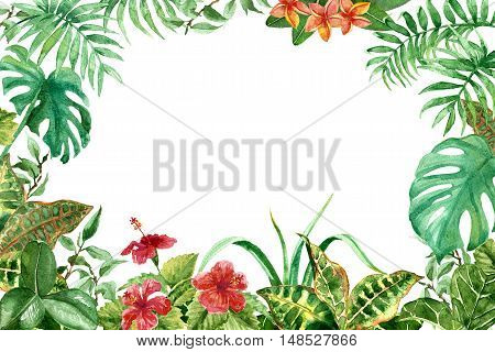 Raster colorful tropical frame made with flowers and leaves. Decoration and design element illustration for floristry wedding celebration themes part for postcards and printed things.