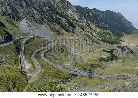 Transfagarasan - High altitude winding road in Carpathians mountains panorama. Aerial view.