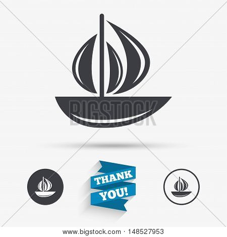 Sail boat icon. Ship sign. Shipment delivery symbol. Flat icons. Buttons with icons. Thank you ribbon. Vector