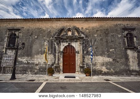 Entrance to the Orthodox church on the island of Lefkada in Greece