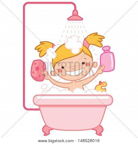 Happy cartoon baby girl kid having bath in a bathtub