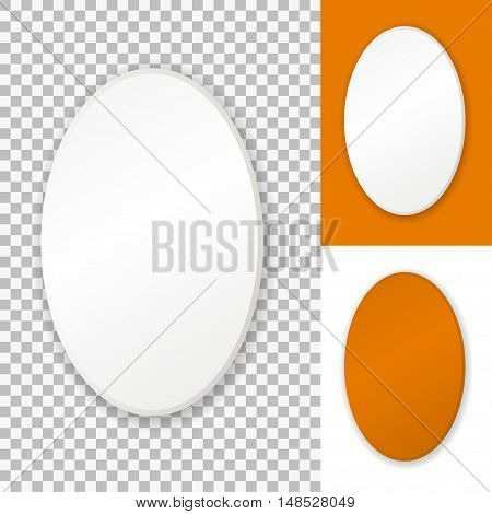 Vector oval frame, isolated on transparent background, white and orange.
