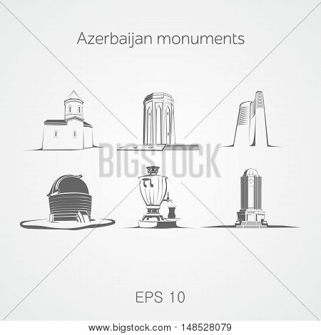 Monuments of Azerbaijan. Church. Mausoleum. Maiden tower. Observatory. Samovar. Baku. Shaki. Ganja. Shamakhi. Nakhchivan.