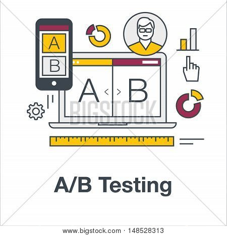 Thin line flat icon concept banner for AB testing, split comparison web design. Web marketing, analysis of web site on laptop and smartphone. Modern vector illustration.