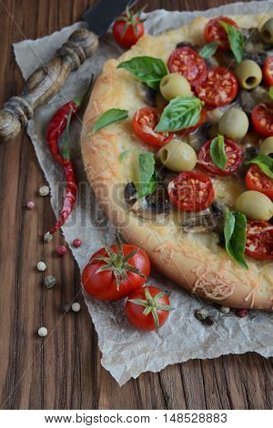 Mushroom Pizza With Cherry Tomatoes And Basil