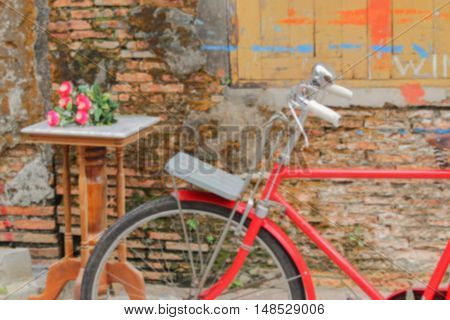 Blur blurred Bicycle red classic vintage for background