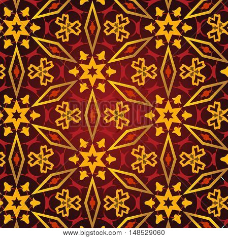 East pattern. Vintage oriental ornament of mandalas. Template for carpet shawl. Vector ornamental pattern. Stylized rich medieval decor.