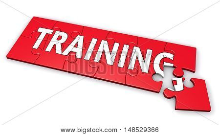 Business training development concept with sign on a red puzzle 3D illustration.