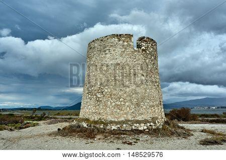 Crash traditional Greek windmill on the island of Lefkada