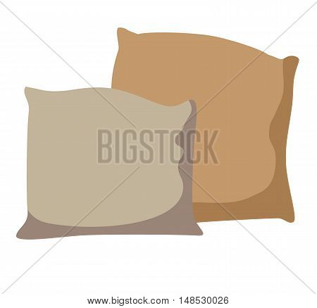 Comfortable bed pillow flat cartoon vector illustration. Eps10. Isolated on a white background.