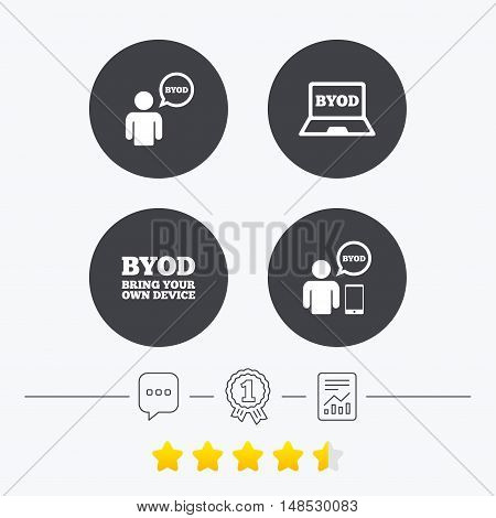 BYOD icons. Human with notebook and smartphone signs. Speech bubble symbol. Chat, award medal and report linear icons. Star vote ranking. Vector