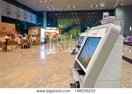 SINGAPORE - CIRCA AUGUST, 2016: self check-in kiosk at Changi Aiport. Changi Airport is the primary civilian airport for Singapore.