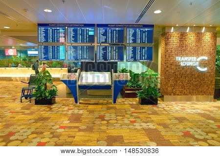 SINGAPORE - CIRCA SEPTEMBER, 2016: inside of Changi Aiport. Changi Airport is the primary civilian airport for Singapore.