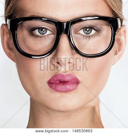 Portrait Of Elegant Woman In Eyeglasses.