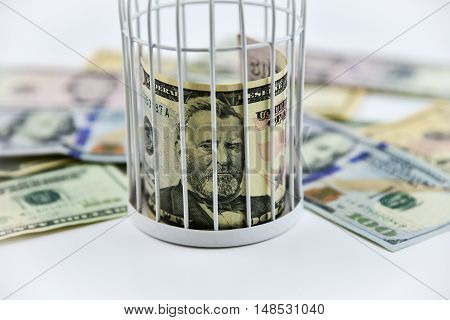 Banknotes trapped inside the cage behind bars