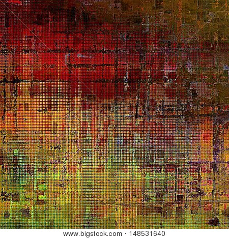 Distressed grunge texture, damaged vintage background with different color patterns: yellow (beige); brown; green; red (orange); purple (violet); pink