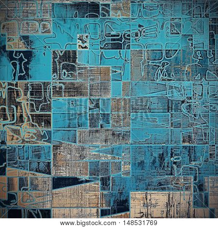 Geometric vintage decorative background, antique grunge texture with different color patterns: yellow (beige); brown; gray; blue; black; cyan