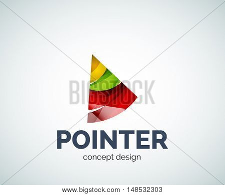 Arrow pointer logo business branding icon, created with color overlapping elements. Glossy abstract geometric style, single logotype