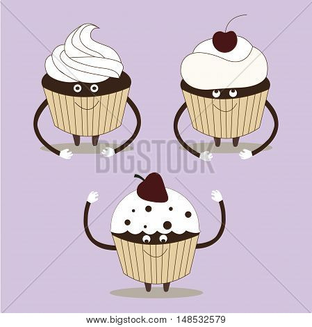 Cherry cupcake flat cartoon vector illustration. Eps10. Isolated on a white background. Sweet food chocolate creamy cupcake set.