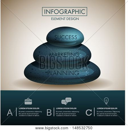 Marble stone zen step marketing  concept infographic template design.Can used for infographic,banner,data,chart,diagram,presentation business and education.Vector illustration