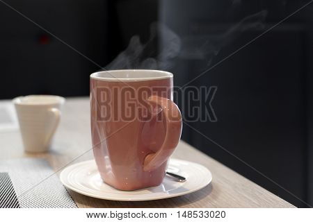Hot Coffee With Steam
