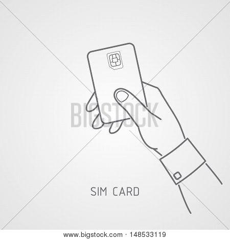 Hand holding SIM card. SIM card icon flat style.
