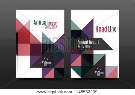 Colorful geometry design annual report a4 cover brochure template layout, magazine, flyer or leaflet booklet. Modern minimal triangle pattern. illustration