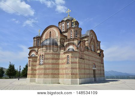 The Hercegovacka Gracanica Monastery on Crkvina Hill above Trebinje in Bosnia. The monastery was built in 2000 and is an exact copy of the Gracanica Monastery in Kosovo.